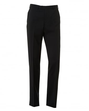 Mens Flat Front Stretch Wool Black Trousers