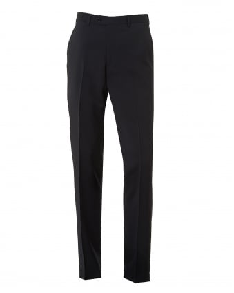 Mens Flat Front Stretch Wool Navy Blue Trousers