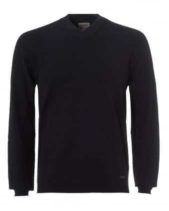 Mens Herringbone Jumper, V-Neck Navy Blue Sweater