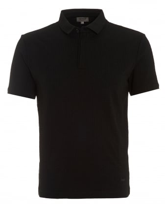 Mens Honeycombe Polo, Regular Fit Black Polo Shirt