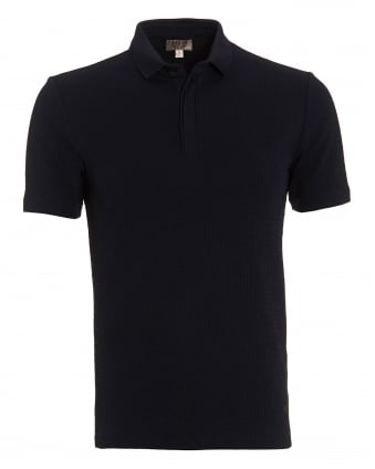 Mens Honeycombe Polo, Regular Fit Navy Blue Polo Shirt