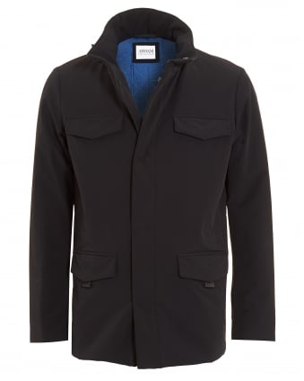 Mens Jacket, Black Funnel Neck Technical Coat