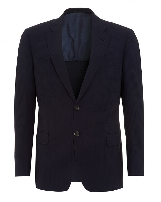 Armani Collezioni Mens Jacket, Navy Blue Honeycomb Textured Blazer