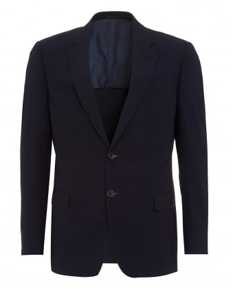 Mens Jacket, Navy Blue Honeycomb Textured Blazer