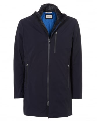 Mens Jacket, Water Repellent 3/4 Navy Coat