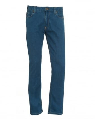 Mens Jeans, Indigo Blue Yellow Stitched Denim