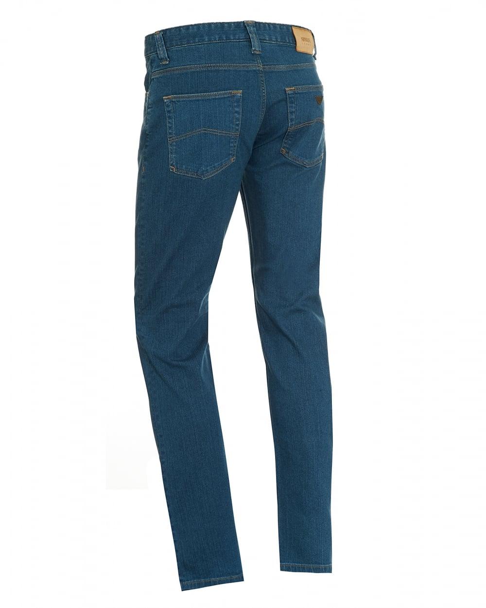 armani collezioni mens jeans indigo blue yellow stitched denim