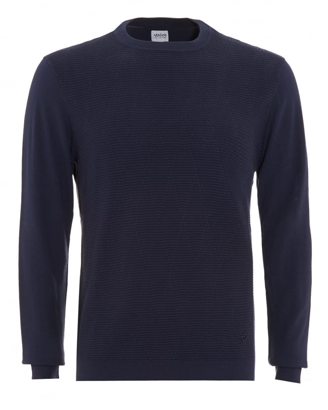 Armani Collezioni Mens Jumper, Diamond Ribbed Crew Neck Blue Sweater