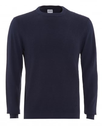 Mens Jumper, Diamond Ribbed Crew Neck Blue Sweater