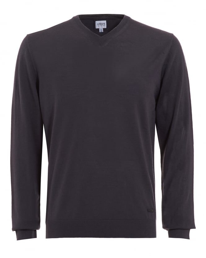 Armani Collezioni Mens Jumper, Grey V Neck Merino Wool Sweater