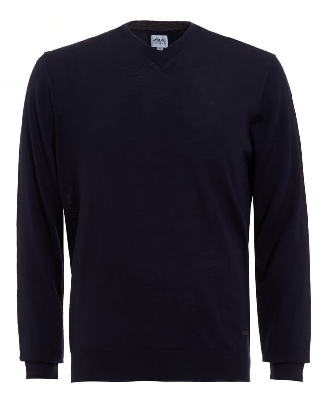 Armani Collezioni Mens Jumper, Navy Blue V Neck Merino Wool Sweater