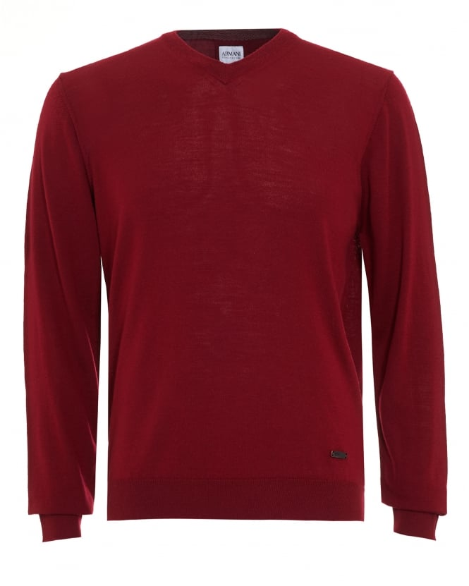 Armani Collezioni Mens Jumper, Red V Neck Merino Wool Sweater
