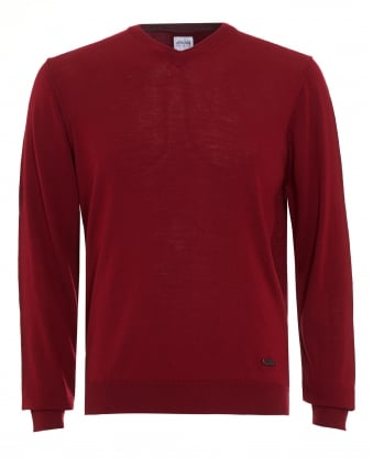 Mens Jumper, Red V Neck Merino Wool Sweater