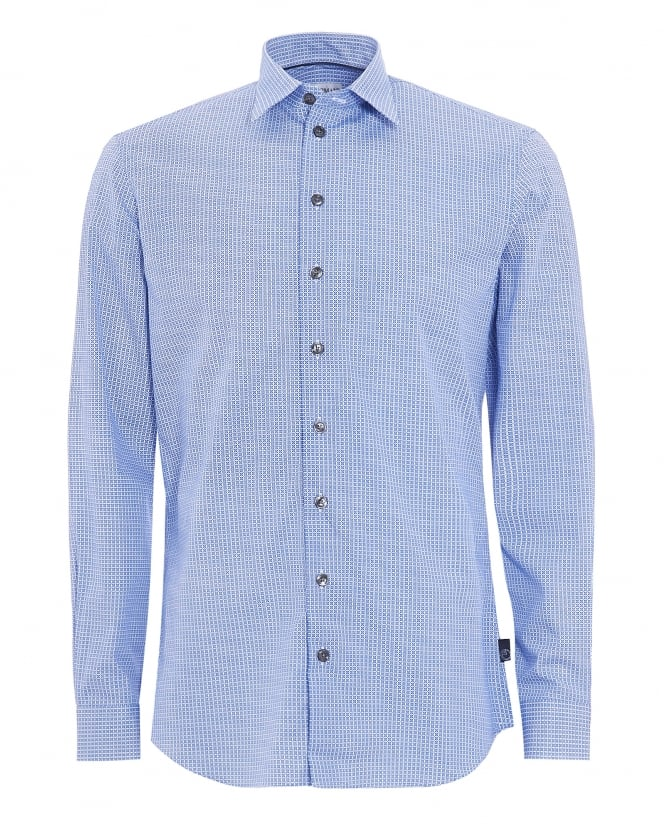 Armani Collezioni Mens Long Sleeved Blue Checkered Shirt