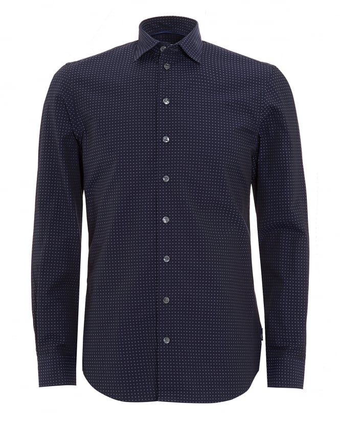 Armani Collezioni Mens Long Sleeved Navy Blue Dotted Shirt