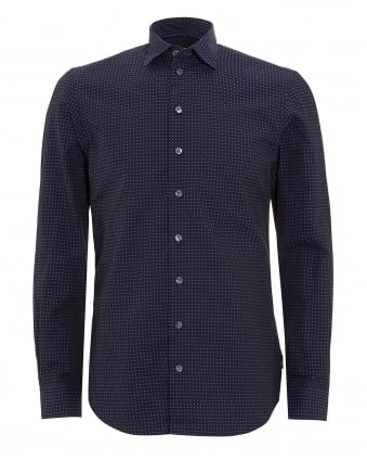 Mens Long Sleeved Navy Blue Dotted Shirt