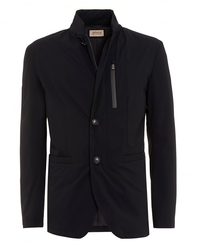 Armani Collezioni Mens Military Blazer, Lightweight Navy Blue Jacket