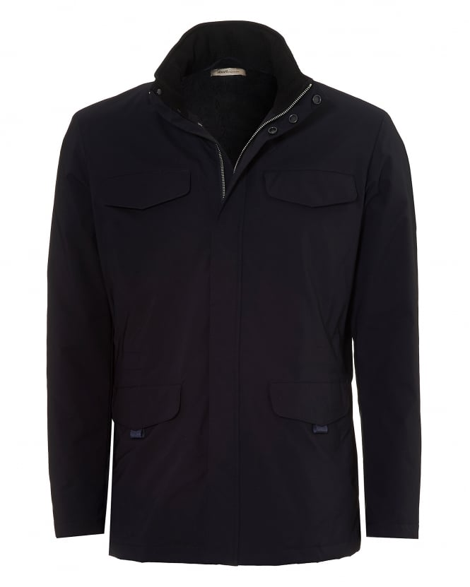Armani Collezioni Mens Military Style Jacket, Water Repellent Navy Blue Coat