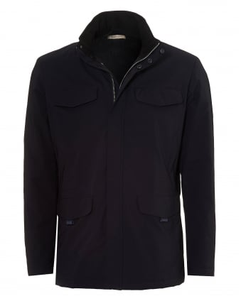Mens Military Style Jacket, Water Repellent Navy Coat