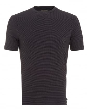 Mens Mini Grid T-Shirt, Regular Fit Navy Blue Tee