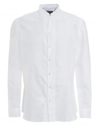 Mens Nehru Open Neck White Shirt
