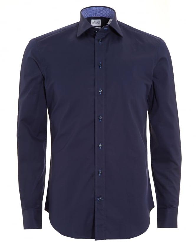 Armani Collezioni Mens Plain Stretch Cotton Slim Fit Navy Blue Shirt