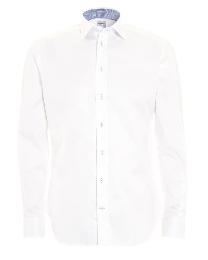 Armani Collezioni Mens Plain Stretch Cotton Slim Fit White Shirt