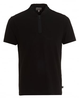 Mens Quarter Zip T-Shirt, Crepe Cotton Black Tee