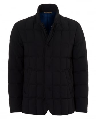 Mens Quilted Blazer, Contrast Lining Navy Blue Jacket