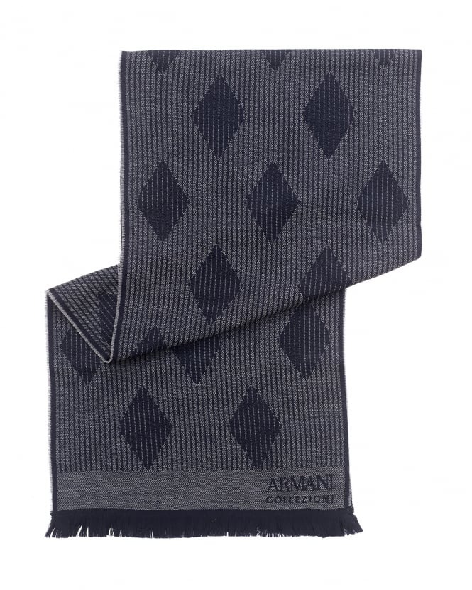 Armani Collezioni Mens Scarf, Navy Blue Diamond Knitted Scarf
