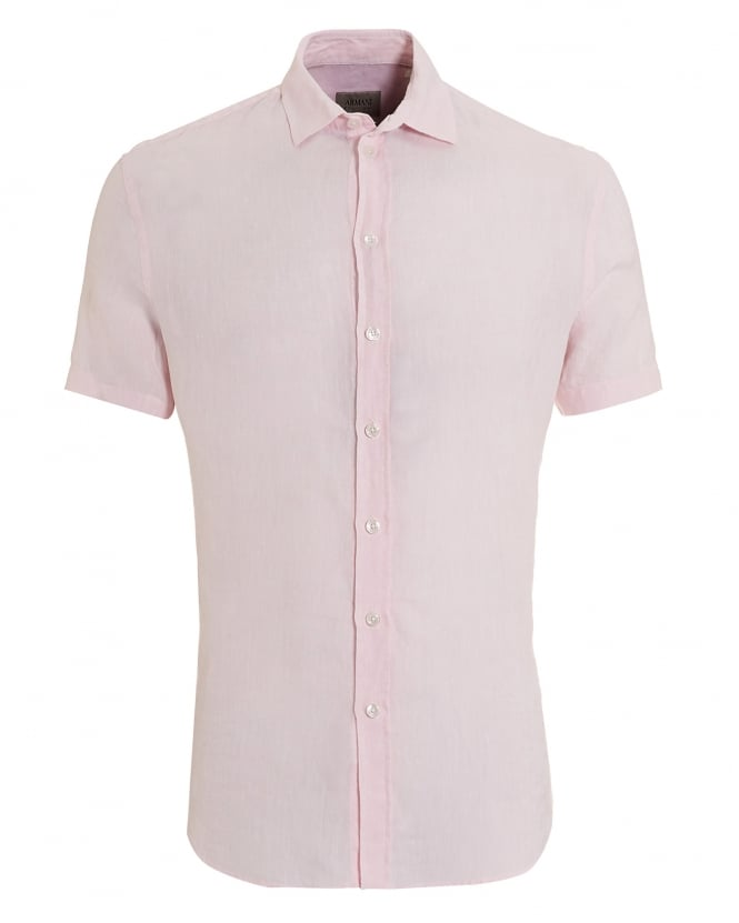 Armani Collezioni Mens Short Sleeved Regular Fit Linen Pink Shirt