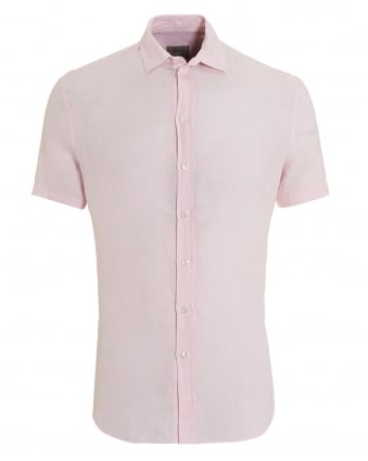 Mens Short Sleeved Regular Fit Linen Pink Shirt