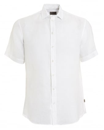 Mens Short Sleeved Regular Fit Linen White Shirt