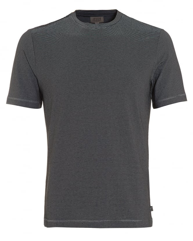 Armani Collezioni Mens Stripe T-Shirt, Regular Fit Black White Tee