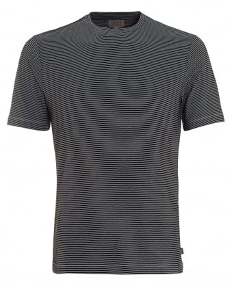 Mens Stripe T-Shirt, Regular Fit Black White Tee