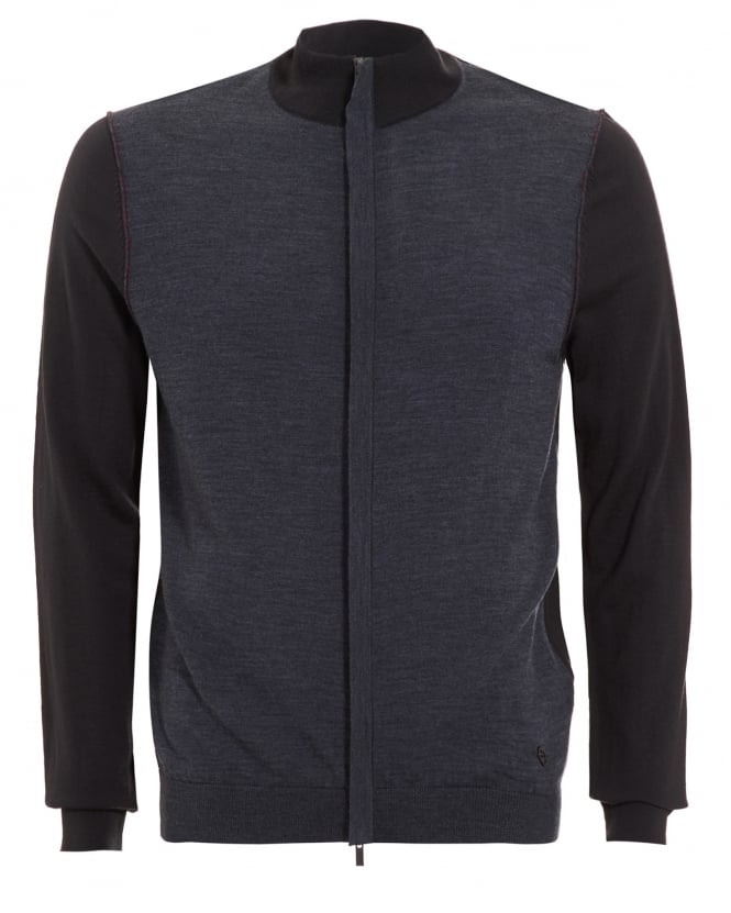 Armani Collezioni Mens Sweatshirt, Contrast Grey Panel Zip Jumper
