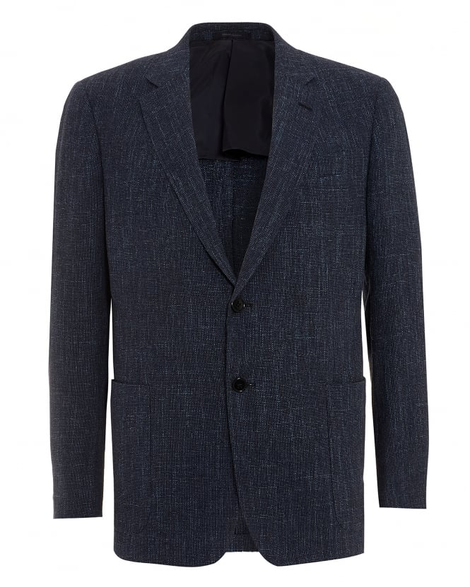 Armani Collezioni Mens Textured Blazer, Cotton Blend Navy Blue Jacket