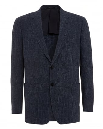 Mens Textured Blazer, Cotton Blend Navy Blue Jacket