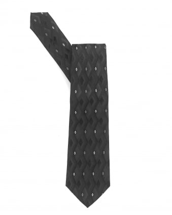 Mens Tie, Black Diamond Geometric Silk Tie
