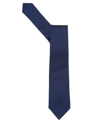 Mens Tie, Hexagonal Design Navy Blue Tie
