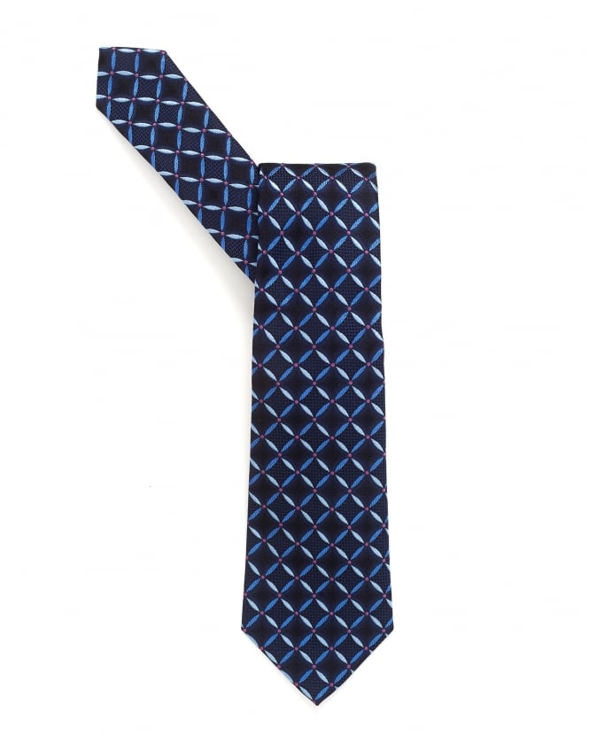 Armani Collezioni Mens Tie, Navy Blue Circle Print Silk Tie