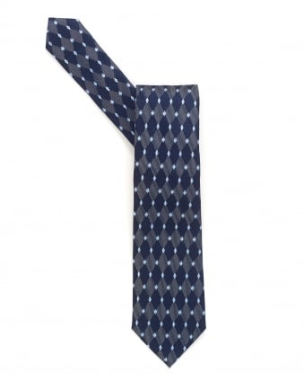 Mens Tie, Navy Blue Diamond Silk Tie