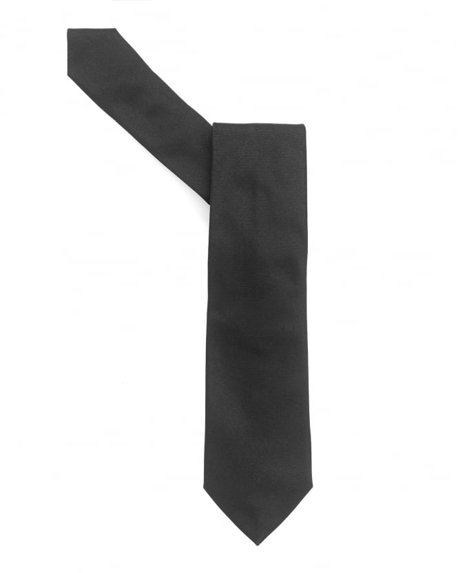 Armani Collezioni Mens Tie, Plain Black Textured Silk Tie