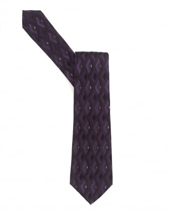 Mens Tie, Purple Diamond Geometric Silk Tie