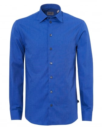 Mens Tonal Contrast Modern Regular Fit Bright Blue Shirt