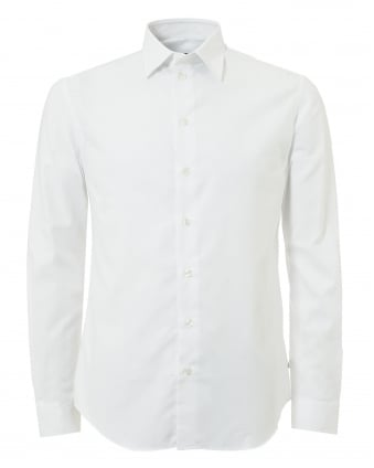 Mens Tonal Square Modern Regular Fit White Shirt