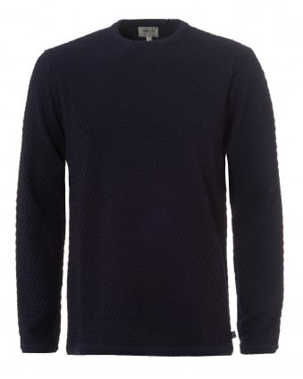Mens Waffle Knit Jumper, Crew Neck Navy Sweater