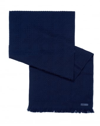 Mens Waffle Knit Wool Navy Blue Scarf