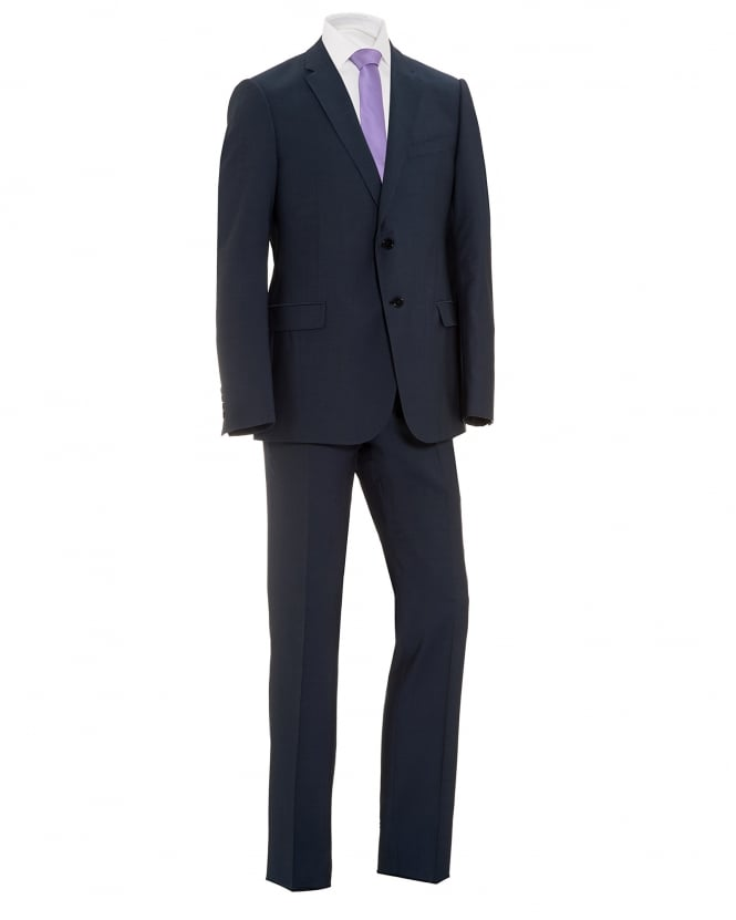 Armani Collezioni Mens Wire Look 2 Button Wool Blue Suit