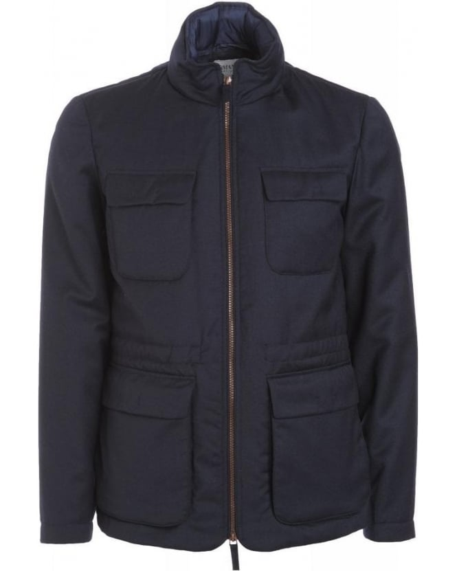 Armani Collezioni Navy Blue Cashmere And Wool Blouson Jacket